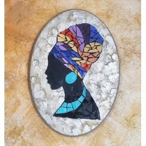 Dekoratif Pano 19 -Seramik Mozaik Afrika Kadın