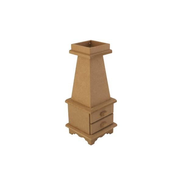 Ahşap Mumluk - Mdf- Çekmeceli- Ölçü(11x11x29)cm