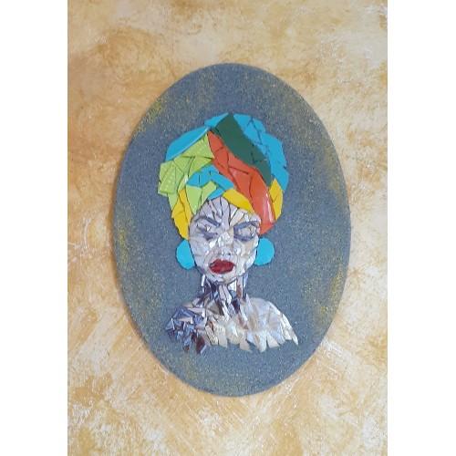 Dekoratif Pano 16 -Seramik Mozaik Afrika Kadın