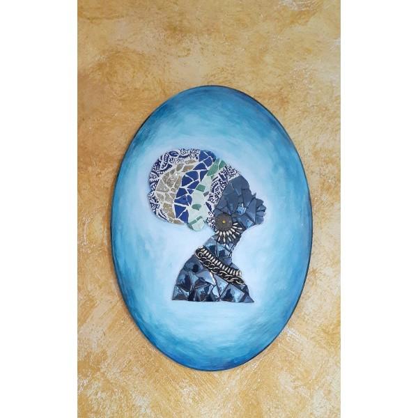 Dekoratif Pano 17 -Seramik Mozaik Afrika Kadın