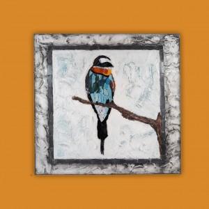 Dekoratif Cam Mozaik Pano 4 -El Yapımı-Arı Kuşu-ölçü(35x35cm)